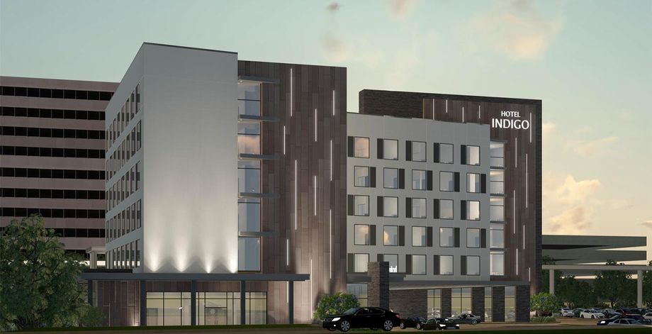 Rendering of the new Hotel Indigo coming to Irving, Texas, in 2023