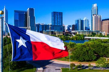 austin texas flag skyline