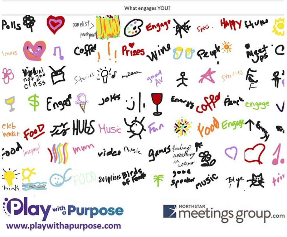 """Engagement company Play with a Purpose hosted an activity in which participants used an app to draw answers to questions like """"What engages you?"""""""