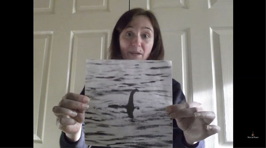 A storyteller from Mercat Tours shares the history of the Loch Ness Monster with a virtual audience.