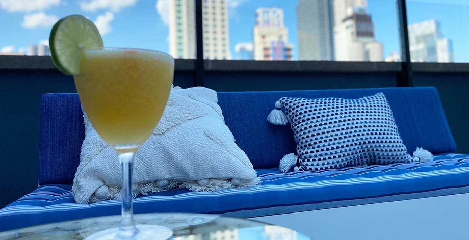 Cozy seating at the Sandbar on top of the Hilton New York Fashion District Hotel