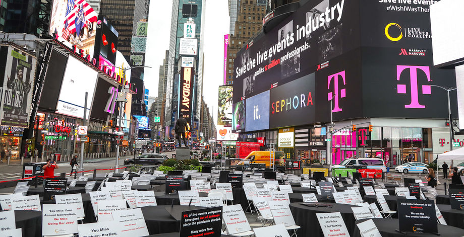 For the event, 48 empty tables were set up in Times Square, each representing 250,000 of the 12 million workers in the live events industry.