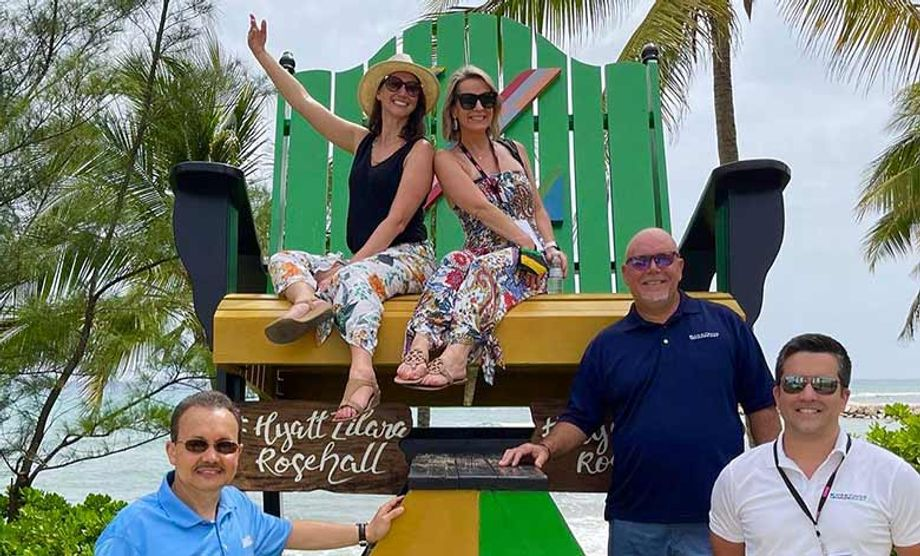 Meetings Made Easy's Sarah Buchbinder (top left) and Mike Ferreira (bottom right) in Jamaica in July
