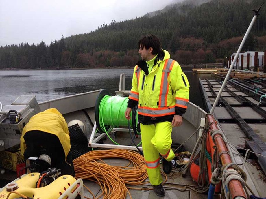 A member of the University of Victoria's Ocean Networks Canada ocean sciences research team.
