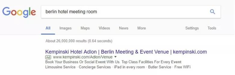 """A generic campaign like this one, a search of """"berlin hotel meeting room"""", should be mostly or fully assigned to branding."""