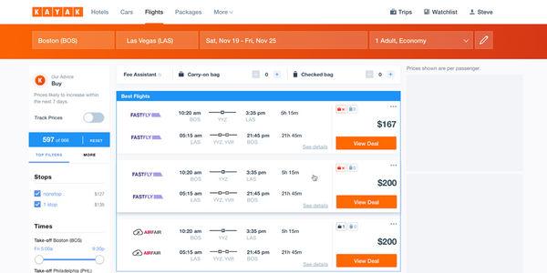 Kayak update baggage fees branded fares