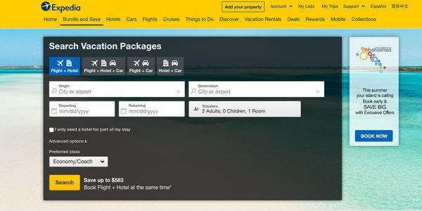 expedia package bookings