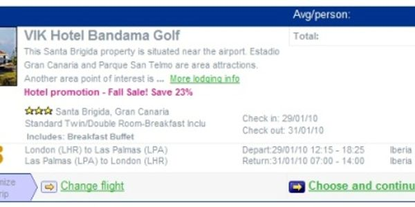 Build-your-own package holiday on Thomas Cook and you actually go with Expedia