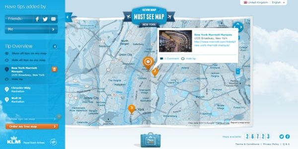 KLM is at it again - combines the social graph, things-to-do and maps