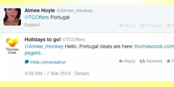 Thomas Cook launches automated travel deal request service on Twitter