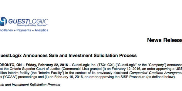 GuestLogix is up for sale in court-ordered process