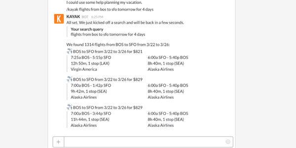 Slack adds flight search functionality via Kayak