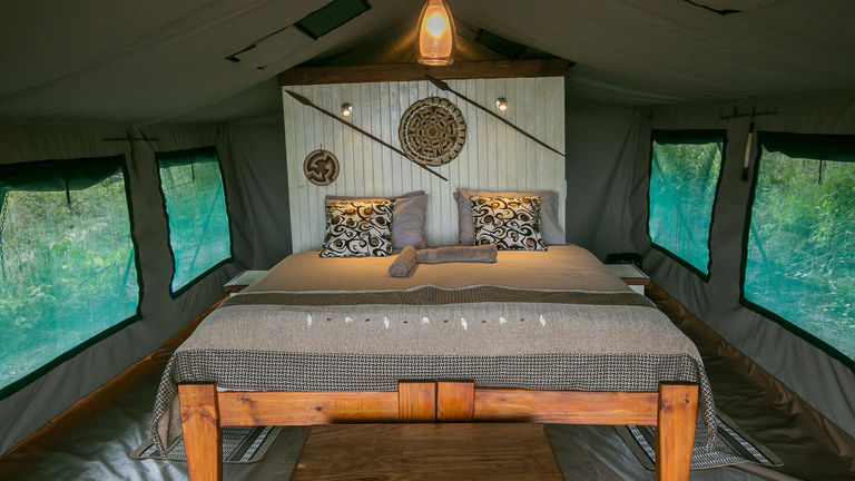 A mobile wilderness camp, Bushman Plains offers A-frame tents.