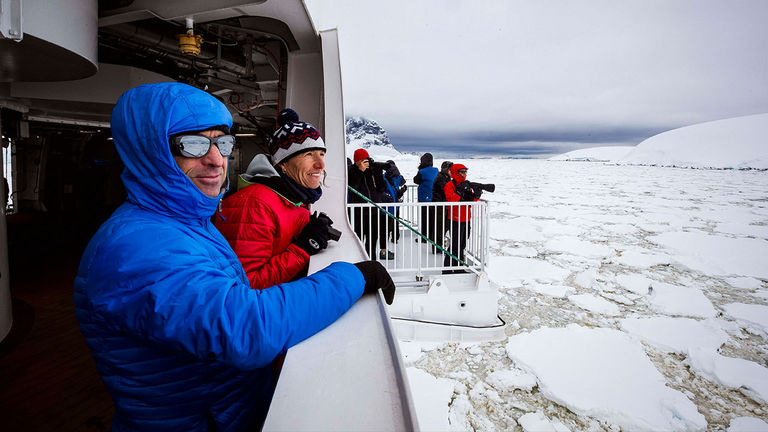 Greg Mortimer's Ulstein X-Bow allows the ship to cut through thick sea ice.