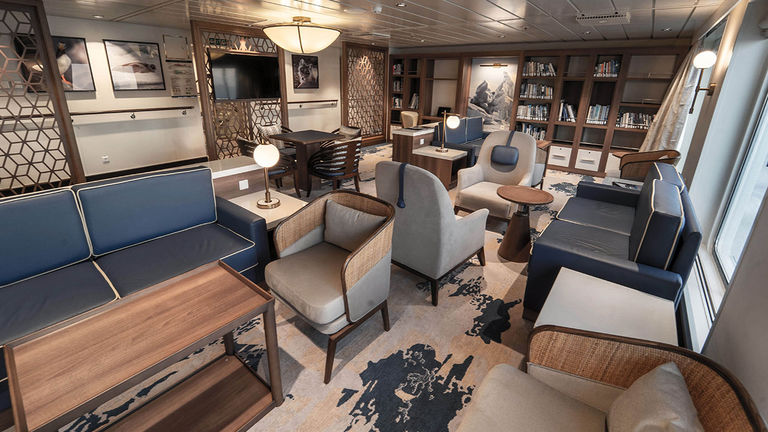 Downtime on the ship can be spent at the library, the gym, the spa, the sauna, the captain's bridge and the lecture room.