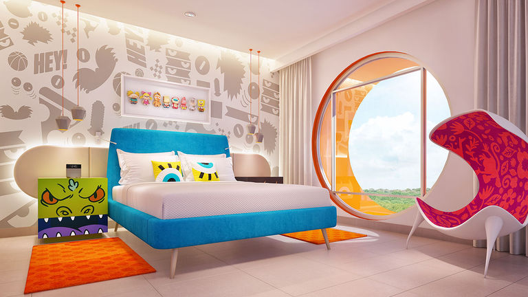 Accommodations at the new Nickelodeon resort include the Big Kahuna Suite.