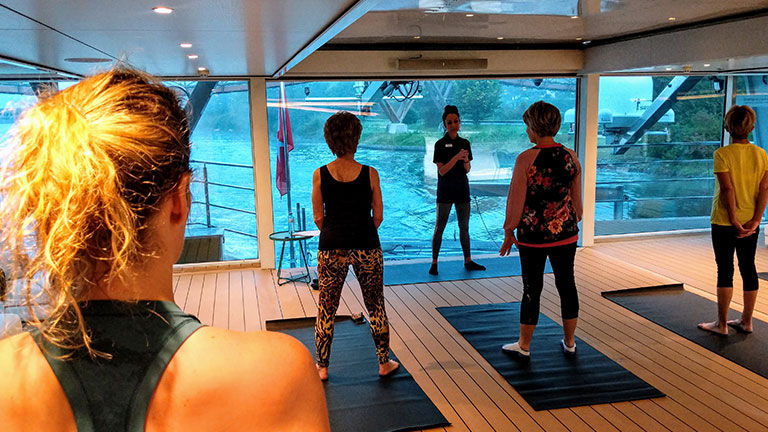 Guests can enjoy yoga and Pilates classes onboard.