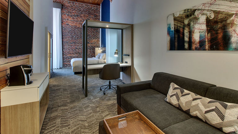 Springhill Suites Montgomery Downtown has an urban-chic vibe.