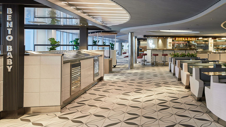 Onboard dining includes The Galley food hall.