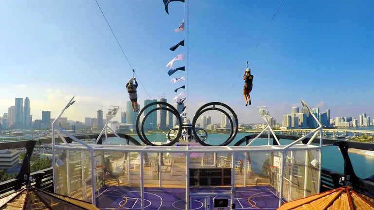 Get an aerial view of the ship when trying out MSC Seaside's zipline.