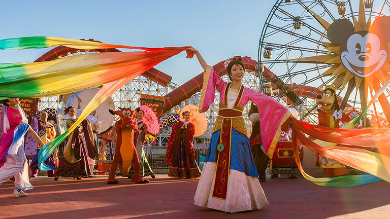 The highlight of the Lunar New Year festival is a processional featuring Mulan and Mushu.