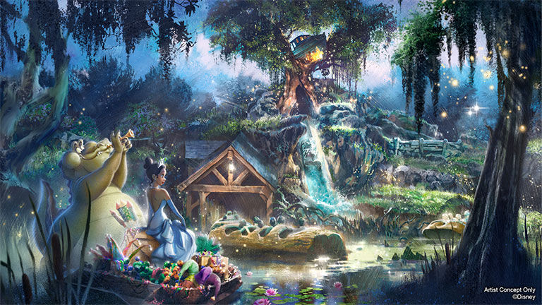 """The inspiration for Splash Mountain's new look is based on the 2009 film """"The Princess and the Frog."""""""