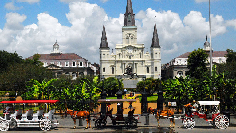 Jackson Square is in the heart of NOLA's French Quarter.