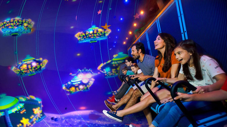 """The land's flagship ride is Emmet's Flying Adventure, a virtual flight over """"The Lego Movie"""" universe."""