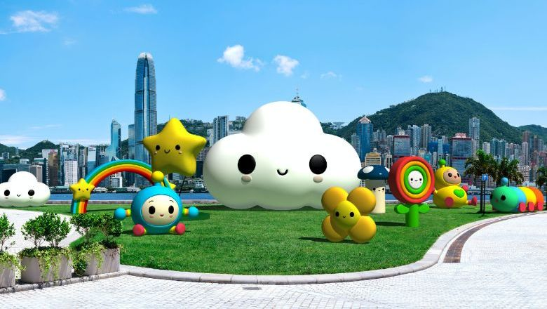 12 giant FriendsWithYou inflatable installations will take up temporary residence until 14 October in the Art Park of the West Kowloon neighbourhood.