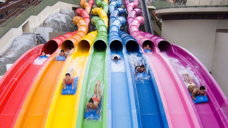 The colourful 17-metre-tall slides at Water World Ocean Park's Rainbow Rush.