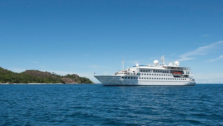 Crystal Esprit in the Seychelles. New owner Lindblad Expeditions plans to operate the yacht in the Galapagos after it is refurbished.