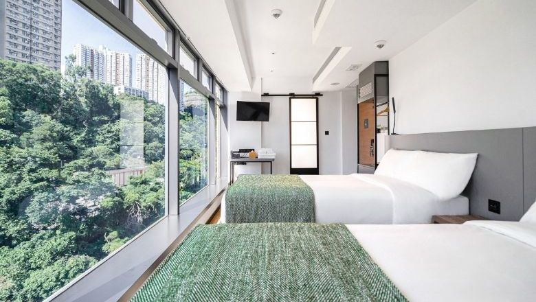 The Urbanwood Ap Lei Chau's deluxe room, which looks out to nearby Aberdeen Channel and Sham Wan.