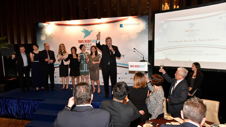 Bob Sullivan, president of the travel group, Northstar Travel Group, makes a toast to all the deserving winners at the Travel Weekly Asia Readers Choice Awards 2016.
