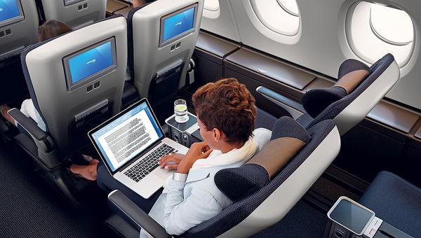 British Airways World Traveller Plus section.