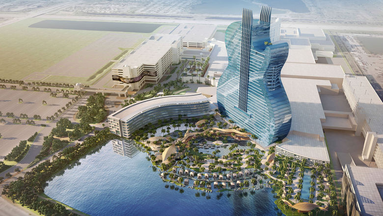 A rendering of the guitar-shaped hotel at the Seminole Hard Rock Hotel & Casino Hollywood.