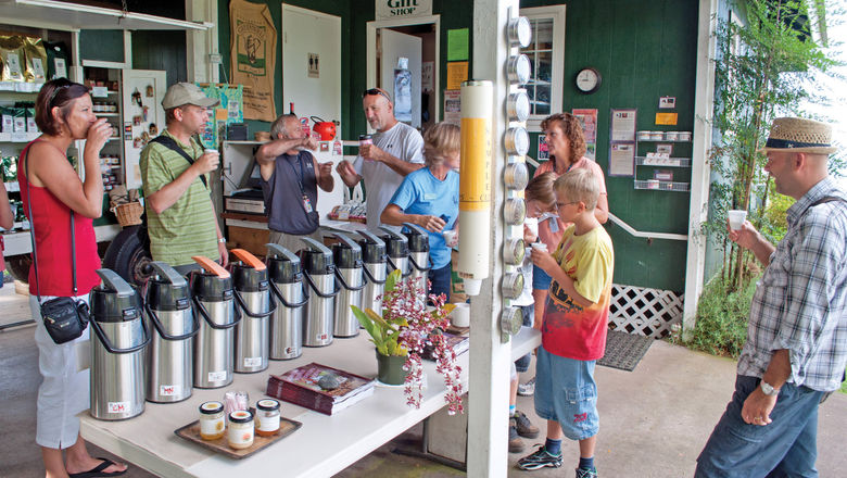 Greenwell Farms, which produces Kona coffee, welcomes 70,000 visitors each year for tours and tastings.