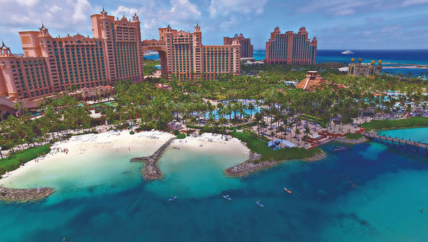 An aerial photo of Atlantis Paradise Island, which is getting about $90 million worth of upgrades in 2017.