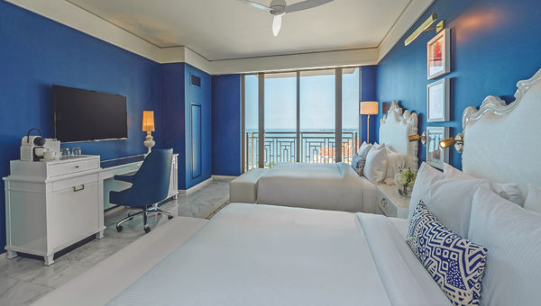 A guestroom at the Grand Hyatt at Baha Mar, the first property to open at the resort.