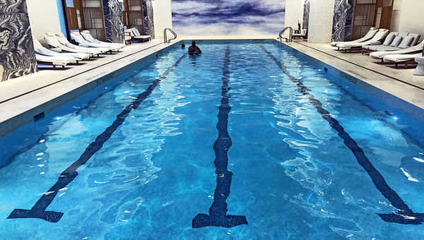 The Four Seasons New York Downtown's large indoor pool.