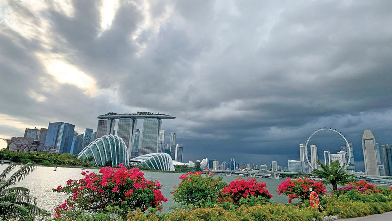 The view of Marina Bay on a typical day in Singapore: hot, humid and occasionally stormy.