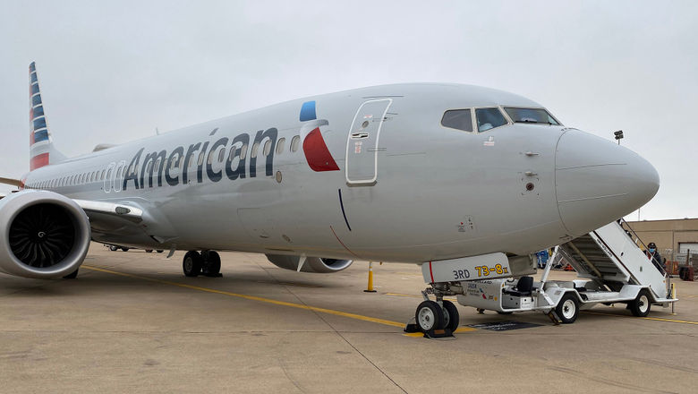 A Boeing 737 Max sits on the American Airlines charter launch pad at Dallas-Fort Worth airport in early December.