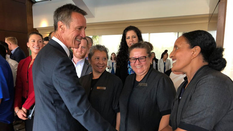 Marriott CEO Arne Sorenson greets staff at the Marriott Marquis San Diego Marina in an undated photo. The CEO died on Monday after a battle with pancreatic cancer.