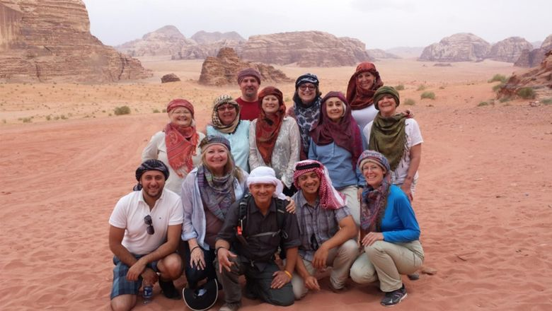 Travel advisors in Wadi Rum on a product development trip to Jordan hosted by the Jordan Tourism Board.