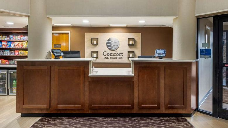 """Comfort Inn  and  Suites Lobby. Images powered by <a href=""""http://web.iceportal.com"""" target=""""_blank"""" rel=""""noopener"""">Ice Portal</a>."""