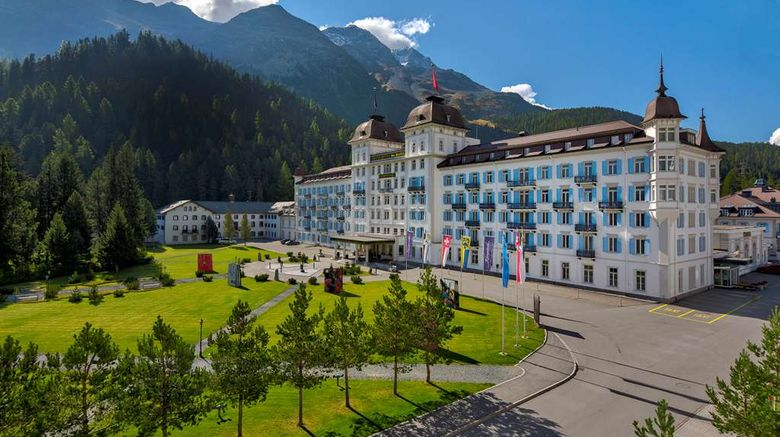 """Kempinski Grand Hotel des Bains Exterior. Images powered by <a href=""""http://web.iceportal.com"""" target=""""_blank"""" rel=""""noopener"""">Ice Portal</a>."""