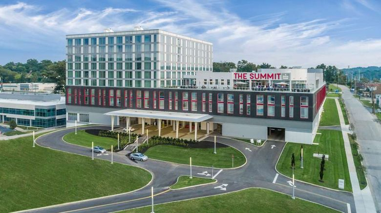 """The Summit Hotel Exterior. Images powered by <a href=""""http://web.iceportal.com"""" target=""""_blank"""" rel=""""noopener"""">Ice Portal</a>."""