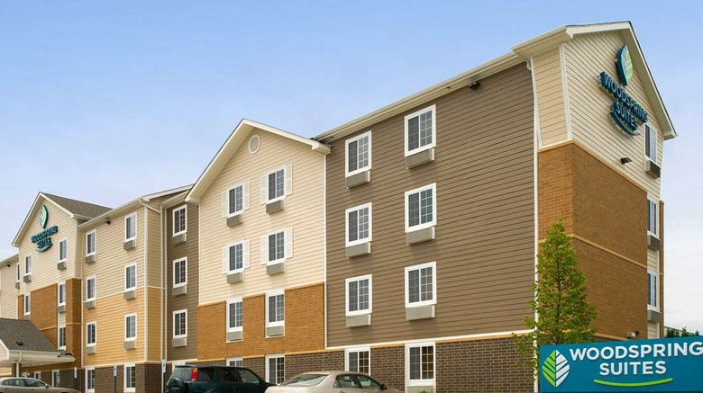 """WoodSpring Suites Chicago Romeoville Exterior. Images powered by <a href=""""http://web.iceportal.com"""" target=""""_blank"""" rel=""""noopener"""">Ice Portal</a>."""