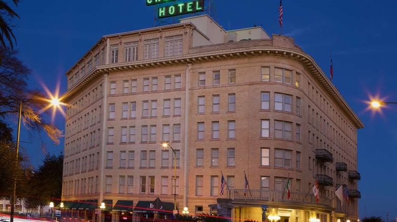 """Historic Crockett Hotel Exterior. Images powered by <a href=""""http://web.iceportal.com"""" target=""""_blank"""" rel=""""noopener"""">Ice Portal</a>."""