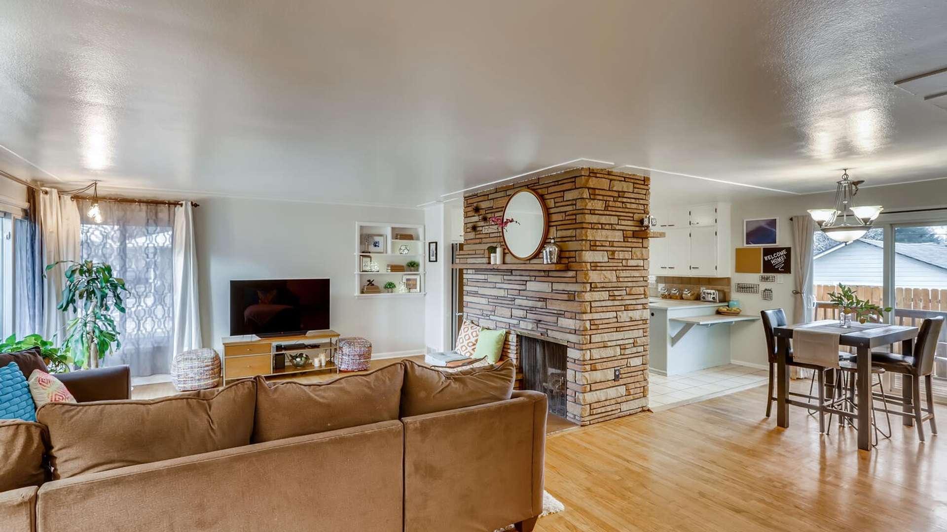 6 of 38. Beautiful stone fireplace