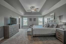 Master Suite features a tray ceiling, large walk-in closet with tons of shelving, upgraded carpeting and blackout blinds